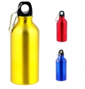 ALUMINIUM DRINKING BOTTLE, 400ML WITH CARABINER CLIP