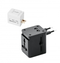 TRAVEL ADAPTER WITH 2 USB PORTS AND PU POUCH
