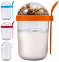 PLASTIC BREAKFAST CUP WITH SPOON (530ML)