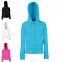 LADIES PREMIUM HOODED SWEAT JACKET 280G - 70% COTTON/ 3