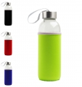 GLASS BOTTLE WITH METAL LID AND NEOPRENE SLEEVE