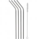 FOUR STAINLESS STEEL STRAWS
