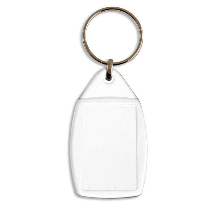 RECTANGULAR KEY RING CF-40, 2 SIDES, ACRYLIC